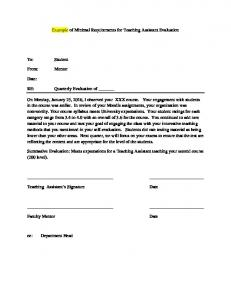 Example of Minimal Requirements for Teaching Assistant Evaluation