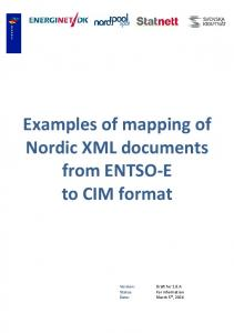 Examples of mapping of Nordic XML documents from ENTSO-E to CIM format