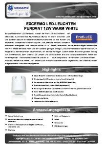 EXCEEMO LED-LEUCHTEN PENDANT 12W WARM WHITE