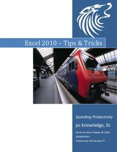 Excel 2010 Tips & Tricks