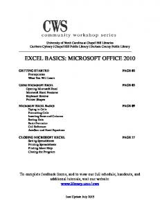 EXCEL BASICS: MICROSOFT OFFICE 2010