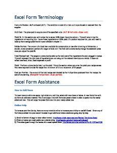 Excel Form Terminology. Excel Form Assistance