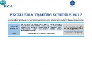 EXCELLEDIA TRAINING SCHEDULE 2017
