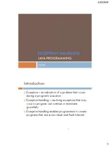 EXCEPTION HANDLING JAVA PROGRAMMING