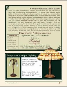 Exceptional Antique Auction September 29th, 2007 ~ 10:00 am