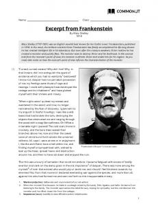 Excerpt from Frankenstein By Mary Shelley 1818