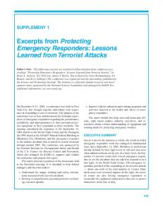 Excerpts from Protecting Emergency Responders: Lessons Learned from Terrorist Attacks