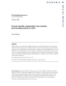 Excess liquidity, oligopolistic loan markets and monetary policy in LDCs