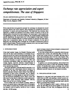 Exchange rate appreciation and export competitiveness. The case of Singapore