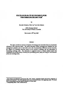 EXCHANGE-RATE ECONOMICS FOR THE RESOURCES SECTOR *