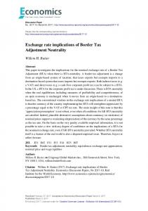 Exchange rate implications of Border Tax Adjustment Neutrality
