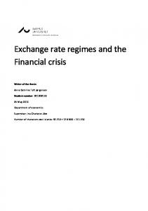 Exchange rate regimes and the Financial crisis