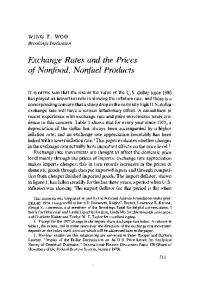 Exchange Rates and the Prices of Nonfood, Nonfuel Products