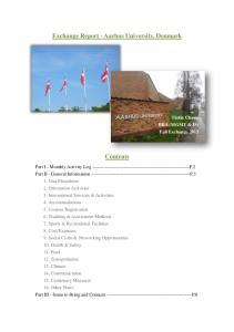 Exchange Report - Aarhus University, Denmark. Contents