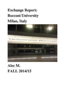 Exchange Report: Bocconi University Milan, Italy