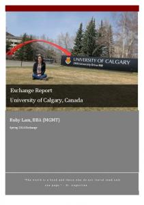 Exchange Report University of Calgary, Canada