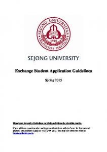 Exchange Student Application Guidelines