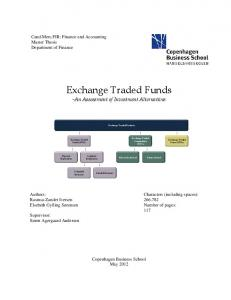Exchange Traded Funds -An Assessment of Investment Alternatives