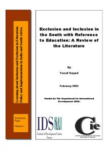 Exclusion and Inclusion in the South with Reference to Education: A Review of the Literature