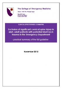Exclusion of significant cervical spine injury in alert, adult patients with potential blunt neck trauma in the Emergency Department