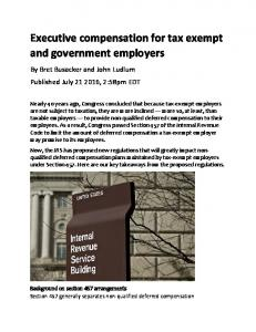 Executive compensation for tax exempt and government employers