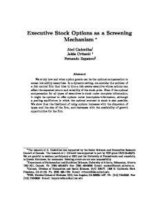 Executive Stock Options as a Screening Mechanism