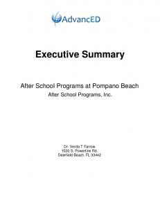 Executive Summary. After School Programs at Pompano Beach. After School Programs, Inc