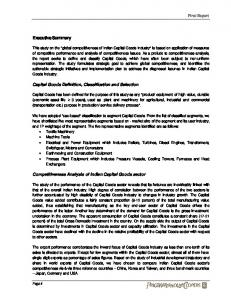 Executive Summary. Capital Goods Definition, Classification and Selection. Competitiveness Analysis of Indian Capital Goods sector