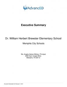 Executive Summary. Dr. William Herbert Brewster Elementary School