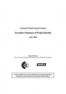 Executive Summary of Project Results