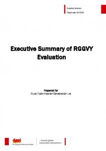 Executive Summary of RGGVY Evaluation