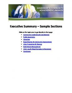 Executive Summary Sample Sections