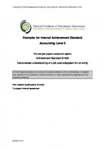 Exemplar for Internal Achievement Standard. Accounting Level 3