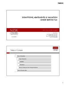 EXEMPTIONS, ABATEMENTS & VALUATION UNDER SERVICE TAX