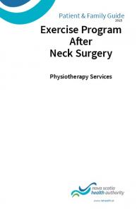 Exercise Program After Neck Surgery