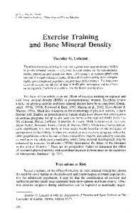 Exercise Training and Bone Mineral Density