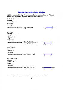 Exercises for Absolute Value Solutions