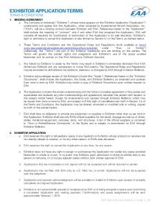 EXHIBITOR APPLICATION TERMS TERMS & CONDITIONS
