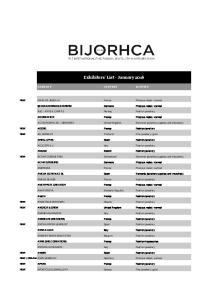 Exhibitors' List - January 2016
