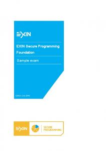 EXIN Secure Programming Foundation. Sample exam