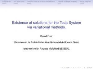 Existence of solutions for the Toda System via variational methods