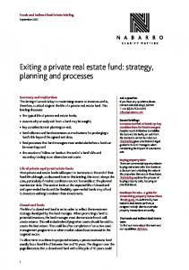 Exiting a private real estate fund: strategy, planning and processes