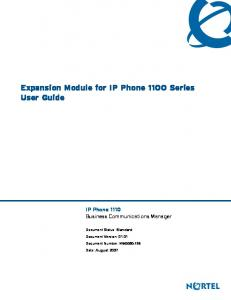 Expansion Module for IP Phone 1100 Series User Guide. IP Phone 1110 Business Communications Manager