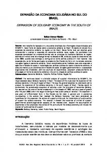 EXPANSION OF SOLIDARY ECONOMY IN THE SOUTH OF BRAZIL