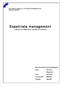 Expatriate management How can the expatriation process be improved