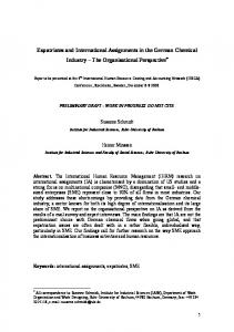 Expatriates and International Assignments in the German Chemical Industry The Organisational Perspective