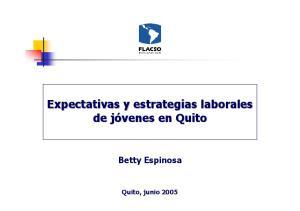 Expectativas y estrategias laborales. Betty Espinosa