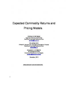 Expected Commodity Returns and Pricing Models