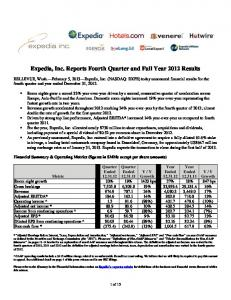 Expedia, Inc. Reports Fourth Quarter and Full Year 2012 Results