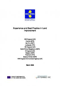 Experience and Best Practice in Land Improvement
